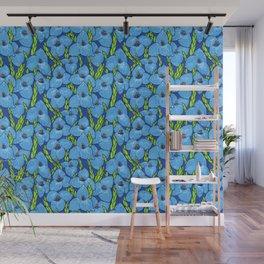 Blue Puya Flowers Botanical Floral Pattern Wall Mural
