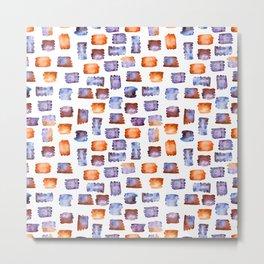 Blue and orange watercolour splotches Metal Print