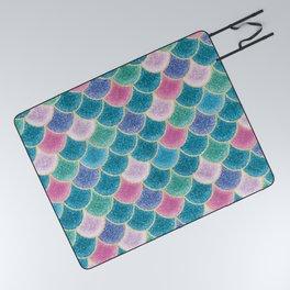 Glittery Mermaid Scales Picnic Blanket