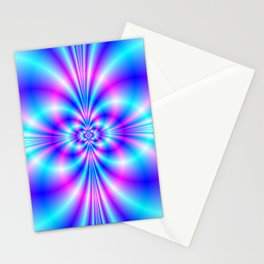 Butterfly Quatrefoil in Blue and Pink Stationery Cards