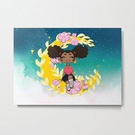 Moon Afro Beauty Metal Print