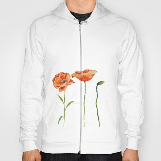 Simply poppy Vintage Watercolor illustration on white background on #Society6 Hoody