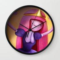 princess bubblegum Wall Clocks featuring Princess Bubblegum by Niniel