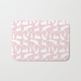 Rabbit Pattern   Rabbit Silhouettes   Bunny Rabbits   Bunnies   Hares   Pink and White   Bath Mat