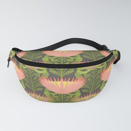 King Protea Flower Pattern - Gray Fanny Pack