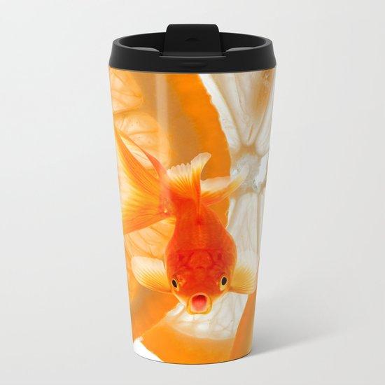 Orange Fish Metal Travel Mug