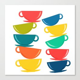 A Teetering Tower Of Colorful Tea Cups Canvas Print