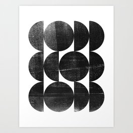 Black and White Mid Century Modern Op Art Art Print