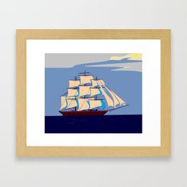 A Clipper Ship with Gray Skies, Sunset Framed Art Print