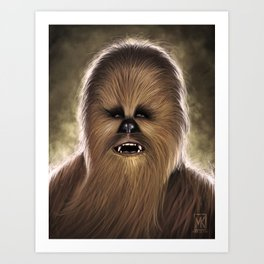 Chewbacca fan art digital portrait Art Print