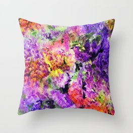Elegant Rainbow Floral Abstract Throw Pillow