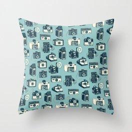 Blue Camera Pattern Throw Pillow