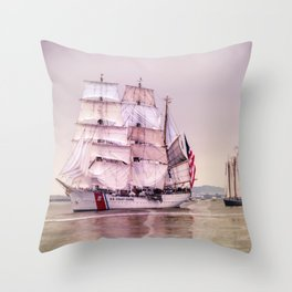 Tall Ships in Boston -USCG Throw Pillow
