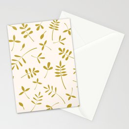 Gold Leaves Design on Cream Stationery Cards