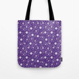 Purple and white floral pattern clemson football college university alumni varsity team fan Tote Bag