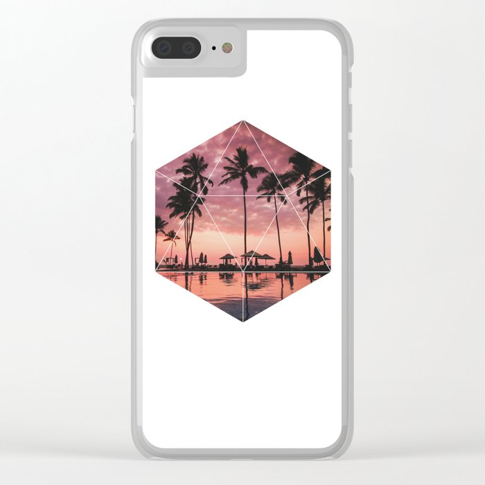 SUNSET PALMS- Geometric Photography Clear iPhone Case
