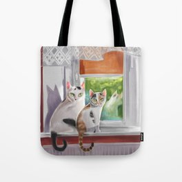 Two cats on a window ledge Tote Bag