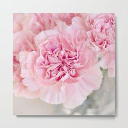 Botanical beautiful pastel pink organic carnations flowers Metal Print