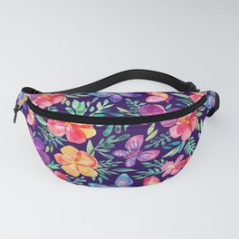 Summer Blooms & Butterflies on Dark Purple Fanny Pack