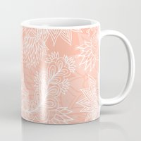 aelwen Mugs featuring Chic hand drawn floral pattern on pink blush by Girly Trend