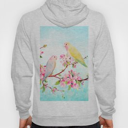 Watercolor Apple Blossoms and Love Birds Hoody