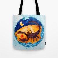 scorpio Tote Bags featuring Scorpio by Sandra Nascimento