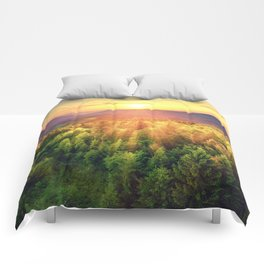 Sunset over forest Comforters