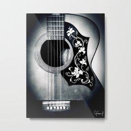 VINTAGE ACOUSTIC GUITAR PICK GUARD B&W PHOTOGRAPHY #3 Metal Print