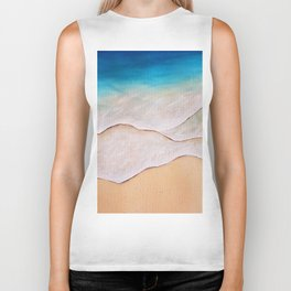 Sea, watercolor Biker Tank