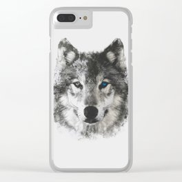 Wolf Face Clear iPhone Case