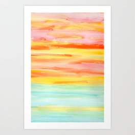 Summer Sunset Abstract Painting Stripes Pattern Modern - Be Yourself And Fall In Love Art Print