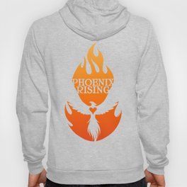 PHOENIX RISING orange with flames and heart center Hoody
