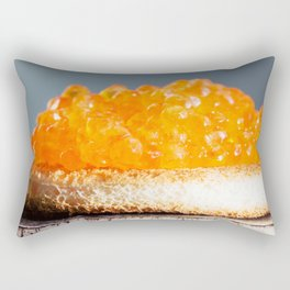 Sandwich with red caviar on a gray background Rectangular Pillow