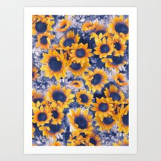 Sunflowers Blue Art Print