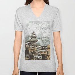 Temple in Bhaktpur Nepal Unisex V-Neck