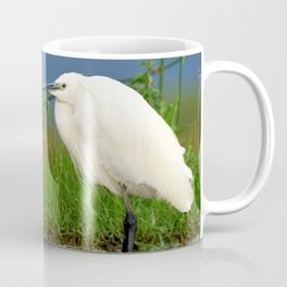 Marvelous Gracious White Heron Standing In Water Close Up Ultra HD Coffee Mug