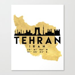 TEHRAN IRAN SILHOUETTE SKYLINE MAP ART Canvas Print