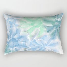 Big Flowers With Blue and Green Rectangular Pillow