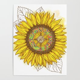 Sunflower Compass Poster