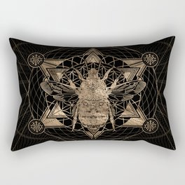 Bumble Bee in Sacred Geometry - Black and Gold Rectangular Pillow