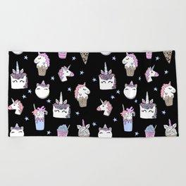 magical unicorn foods cakes cupcakes icecream cones with unicorns Beach Towel