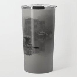 Foggy Portland Cityscape - B+W Travel Mug