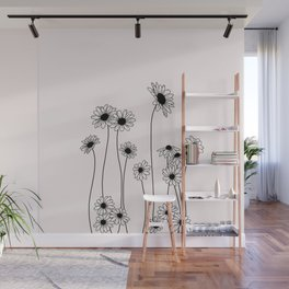 Daisy flowers illustration - Natural Wall Mural