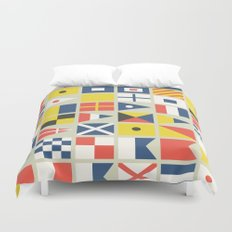 Geometric Nautical flag and pennant Duvet Cover
