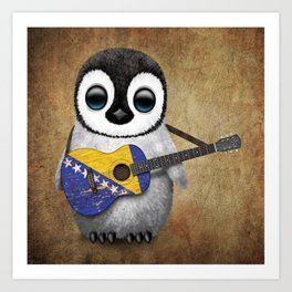 Baby Penguin Playing Bosnian Flag Acoustic Guitar Art Print
