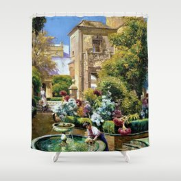 The Gardens of the Royal Alcazar, Seville, Spain by Manuel Garcia y Rodriguez Shower Curtain