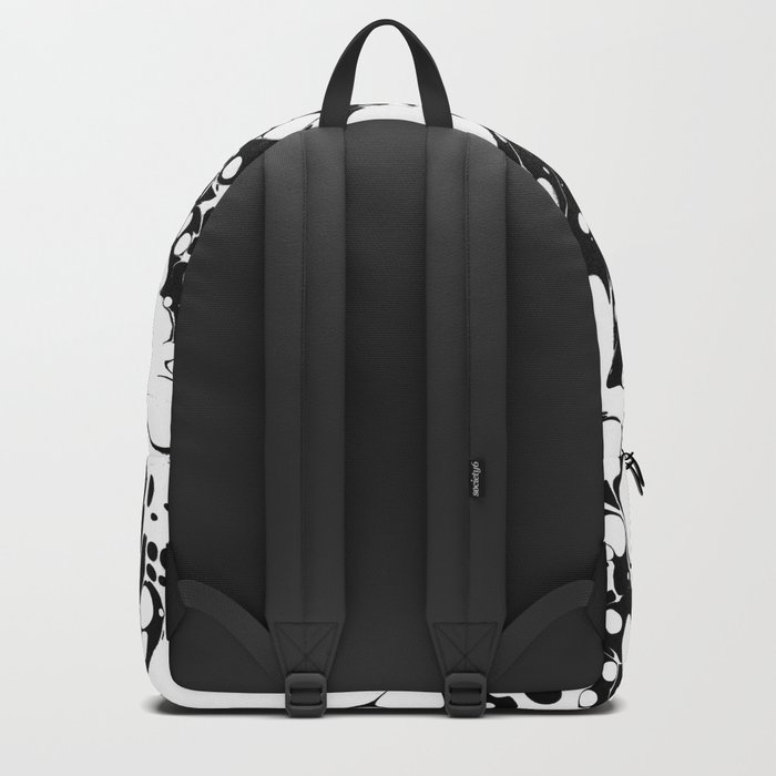 Black and White bubbles Spilled Ink Marbled Paper Backpack