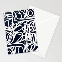 Stained Glass Pattern Black and White Stationery Cards