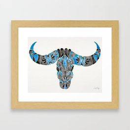Water Buffalo Skull – Black & Blue Framed Art Print