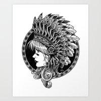 headdress Art Prints featuring Headdress by BIOWORKZ